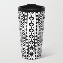 Aztec Essence Pattern Black on White Travel Mug