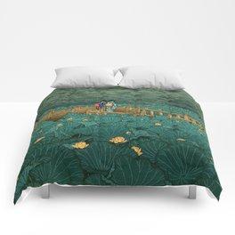 Vintage Japanese Woodblock Print Kawase Hasui Japanese Children Lotus Flowers Garden Wooden Bridge Comforters