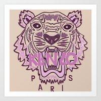 kenzo Art Prints featuring KENZO Tiger, pink  by cvrcak