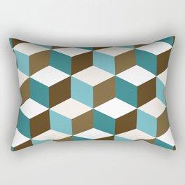 Cubes Pattern Teals Browns Cream White Rectangular Pillow