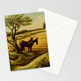 Classical Masterpiece 'Noon Time' Old West Harvest Time portrait painting by Thomas Hart Benton Stationery Cards