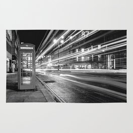 Black and White London Street at Night Rug