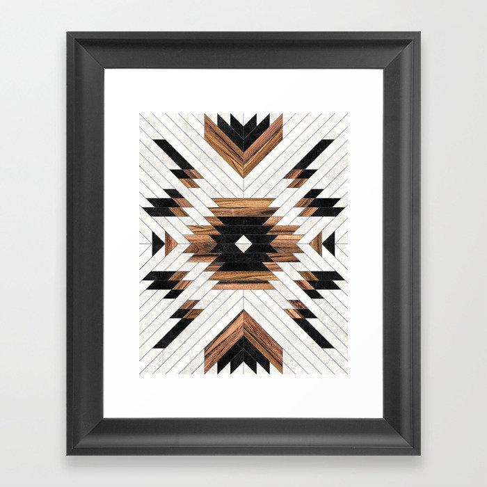 Urban Tribal Pattern No.5 - Aztec - Concrete and Wood Gerahmter Kunstdruck