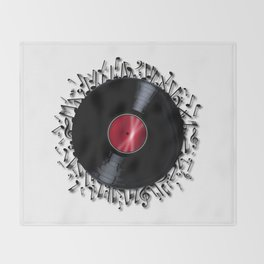 Musical Notes Record Throw Blanket