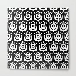 Retro Flower Pattern Black & White 2 Metal Print