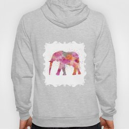 Artsy watercolor Elephant bright orange pink colors Hoody