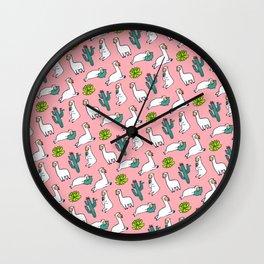Pink Llama Alpaca Cactus Pattern Gift Wall Clock