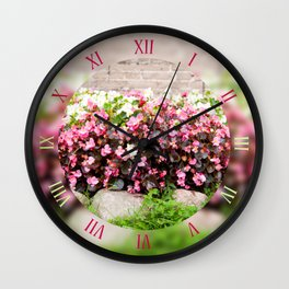 Pink flowering Begonia clumps Wall Clock