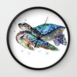 Sea Turtle, Green Blue Wall Clock