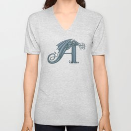 Dragon Letter A, from Dracoserific, a font full of Dragons. Unisex V-Neck