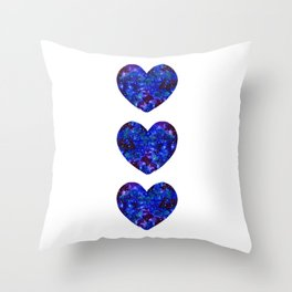Three Space Hearts Throw Pillow