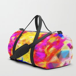 psychedelic geometric triangle pattern abstract background in pink yellow red blue Duffle Bag