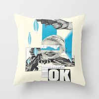 kim sy ok Throw Pillows featuring OK by collageriittard