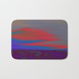 """Twilight Meadow"" (Blue/Orange-Red) Digital Painting // Fine Art Print Bath Mat"