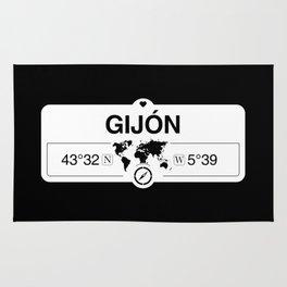 Gijón Principado de Asturias with World Map GPS Coordinates Rug