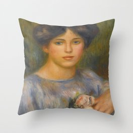 """Auguste Renoir """"Jeune fille aux roses (Young girl with flowers)"""" Throw Pillow"""