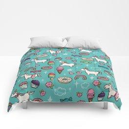 Aqua Blue Unicorns & Sweet Daydreams Comforters