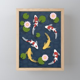 Japanese Koi Fish Pond Framed Mini Art Print