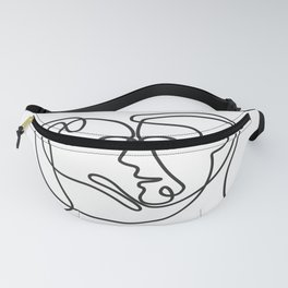 Man and Dog Face Side Continuous Line Fanny Pack