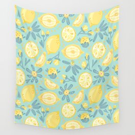 Lemon Pattern Mint Wall Tapestry