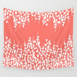 Pussywillow Silhouettes — Living Coral Wall Tapestry