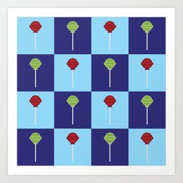 Pop-art Blue Checkerboard Pattern Red Green Candy Lollipops Art Print
