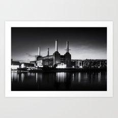 Battersea Power Station in monochrome Art Print