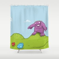 hunting Shower Curtains featuring Marshmallow Hunting by David Lanham