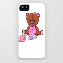 Teddy bear in a pink dress with a ball and maracas. Teddy bear girl. iPhone Case