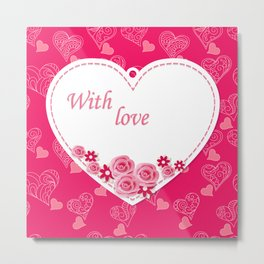 white heart with love Metal Print
