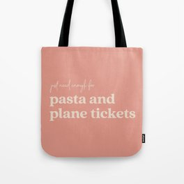 Pasta and Plane Tickets - Rust Tote Bag