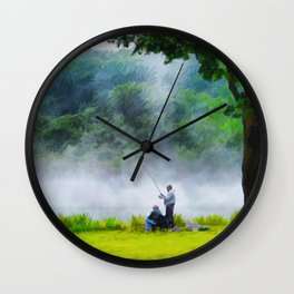 The Father and Son Fishers (Color) Wall Clock