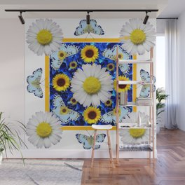 EVERYTHING'S COMING UP DAISIES & BUTTERFLIES  BLUE  ART Wall Mural