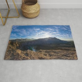 Smith Rock National Park and the river bend, Oregon Rug