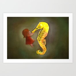 Hello Mr. Seahorse Art Print