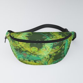 Spring pastels gently pearl and lemon circles and green ellipses with the image of abstract flowers Fanny Pack