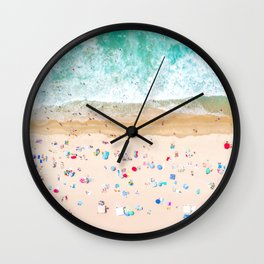 Drone shot of Manhattan beach Wall Clock