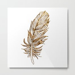 Golden Feather Metal Print