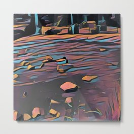 Rocks and the Duck Metal Print