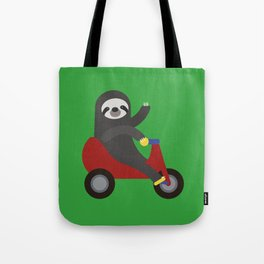 Sloth on Tricycle Tote Bag