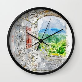 Aquarelle sketch art. Town with stone gate and street view, Istria, Croatia Wall Clock