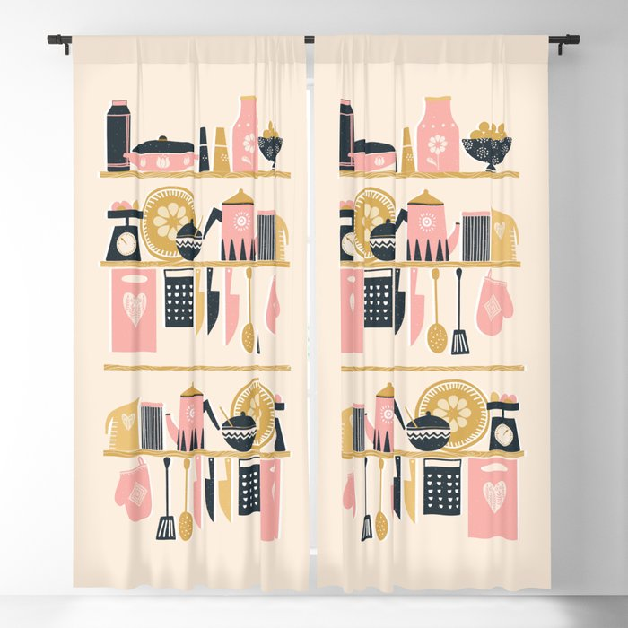 Colorful Cooking In A Mid Century Scandinavian Kitchen Blackout Curtain By Sunnybunny Society6