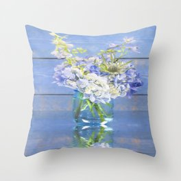 Rustic Hydrangea In Mason Jar Throw Pillow
