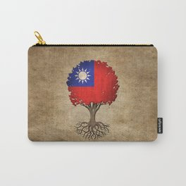 Vintage Tree of Life with Flag of Taiwan Carry-All Pouch