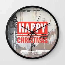 Snowfall - Happy Christmas Wall Clock