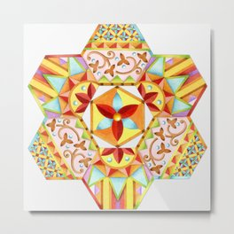 Gypsy Boho Chic Hexagons Metal Print