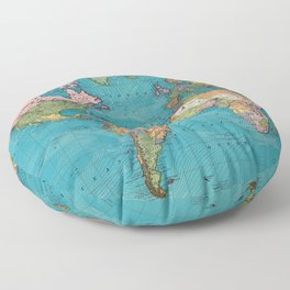 Vintage Map of The World (1897) Floor Pillow