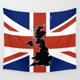 UK Silhouette and Flag Wall Tapestry