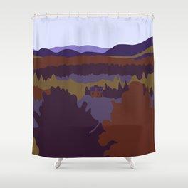 Graphic Fall Mountain Landscape (Purple) Shower Curtain