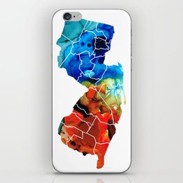 New Jersey - State Map By Sharon Cummings iPhone Skin